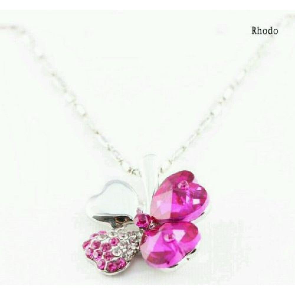 7006 hot fashion charming pink crystal lucky four leaf clover 7006 hot fashion charming pink crystal lucky four leaf clover pendant necklace aloadofball Choice Image