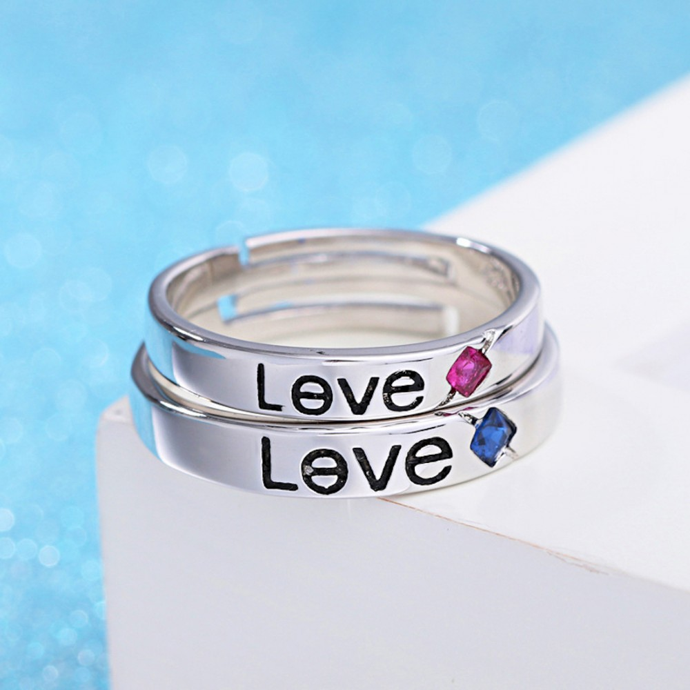 Romantic Stainless Steel Lovers Ring Silver Color LetterLove
