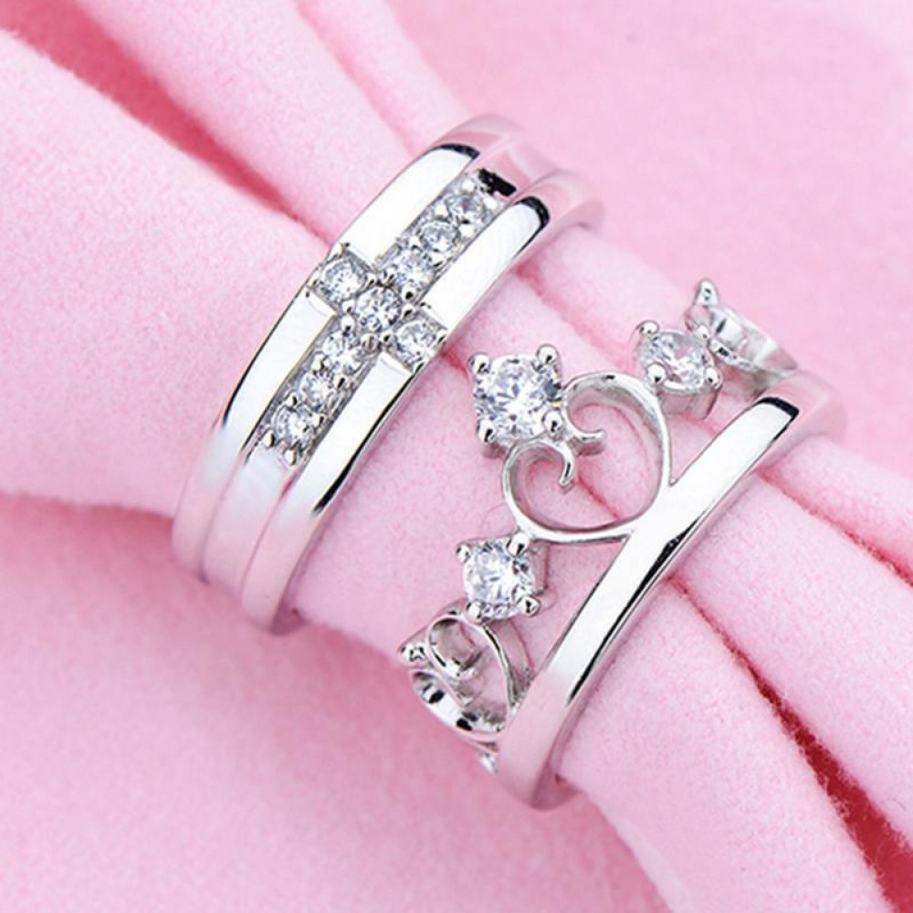 9017 Silver Plated Prince Princes Imperial Crown Adjustable Couple Ring