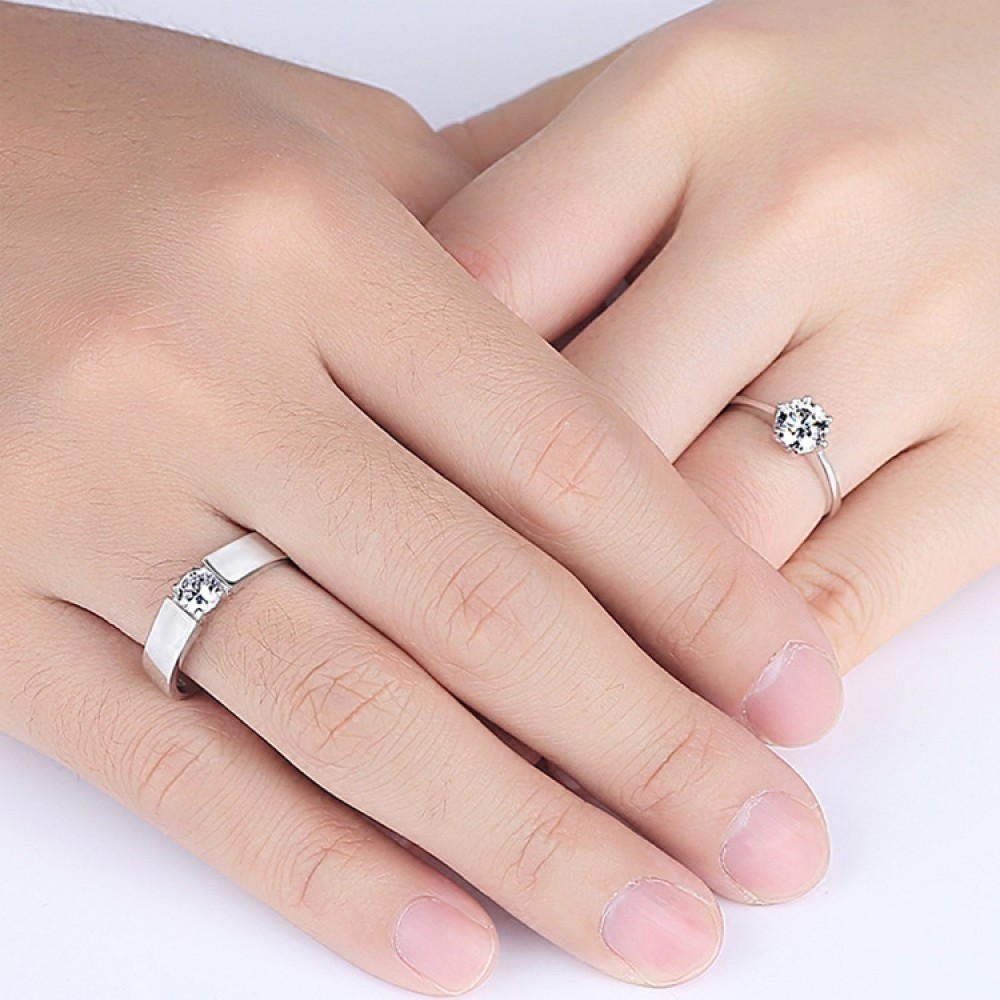9292 simulation diamond men and women couple live mouth wedding ring ...