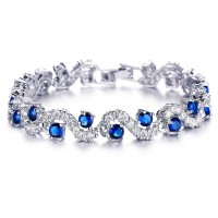 #3103  Rich Royal Blue Crystal High Grade CZ Chain Bracelet For Women and Girls