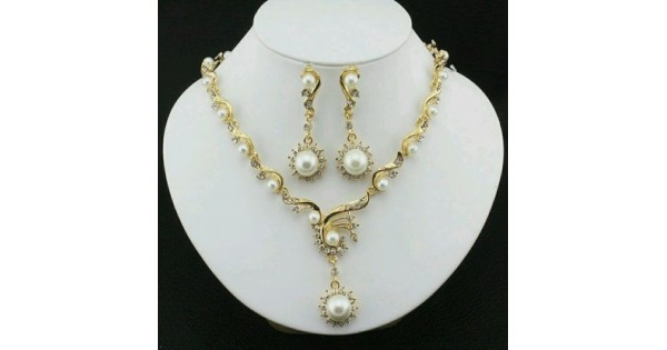 2b064bf78dc6e #5000 fashion jewelry set with gold plated imitation Pearl necklace earring  set