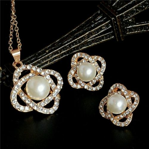 #5013 Gold Plated Diamond Jewelry Sets Imitation Pearl necklace earring set