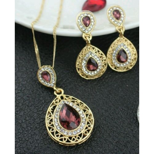 #5017 Crystal Design Cute Bridal Wedding Jewelry Pendant Necklace Earrings Set