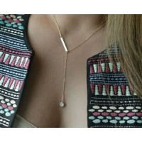 #7038 New Fashion Simple Gold Plated crystal Chain Necklace