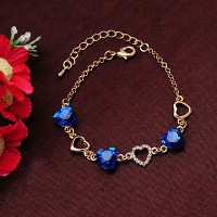 #3074 Fashion Charm Bracelet Gold Chain Link Crystal Chain Heart Lover Bracelet
