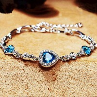 #3091 Womens Ladies Crystal Rhinestone Bangle Ocean Blue Bracelet Chain Heart