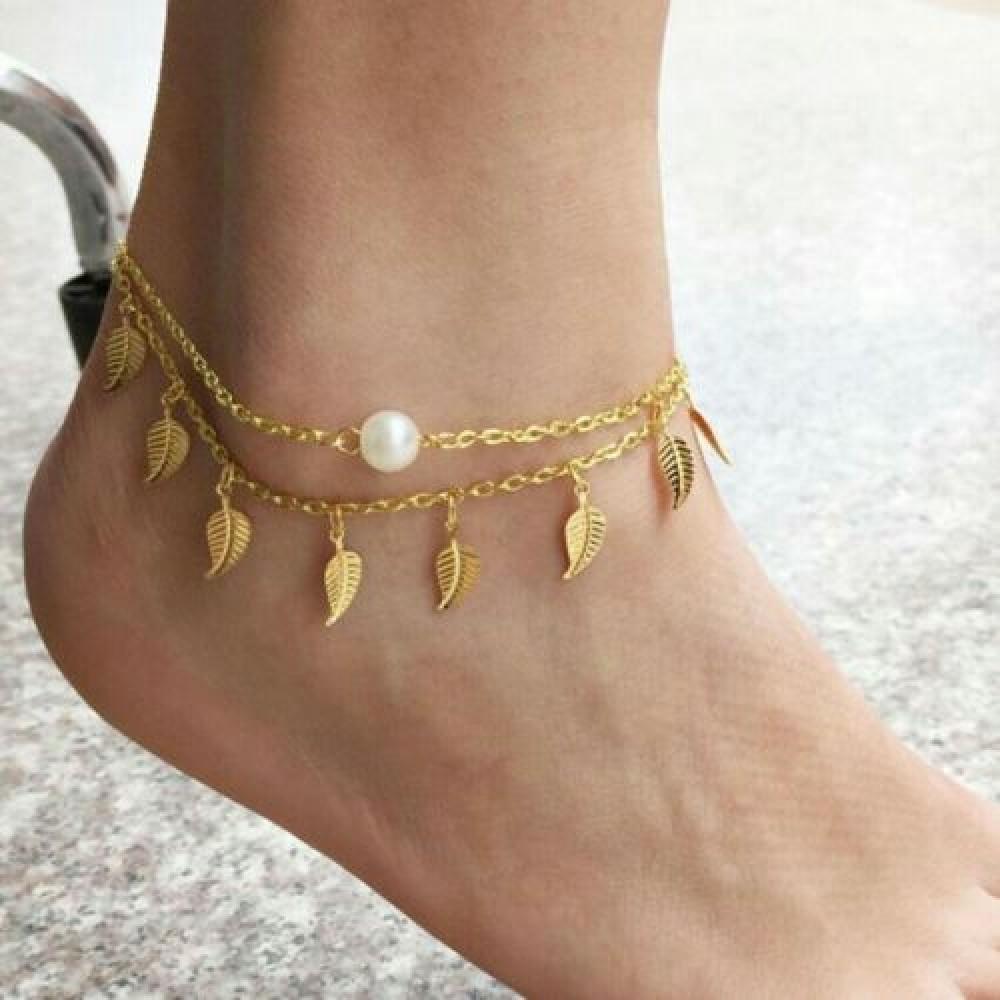 2007 Vintage Anklets For Women Fashion Anklet Gold Leaf ...