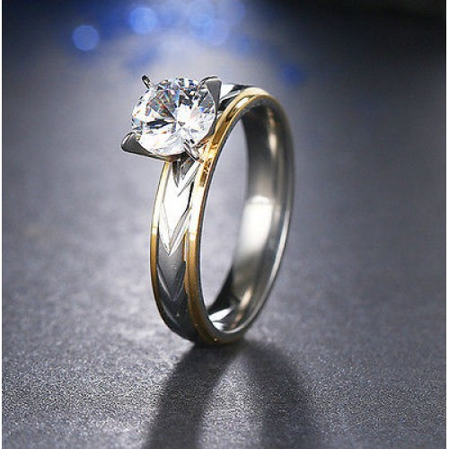 9200 Stainless Steel Rings Silver-Gold Diamond For Women Fashion Jewellery