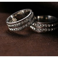 9207 Stainless Steel Rings For Women Fashion Double Lines Of CZ Jewellery