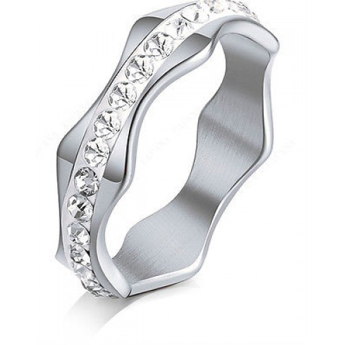 9221 Stainless Steel Silver Rings For Women  CZ Wave Shape Fashion