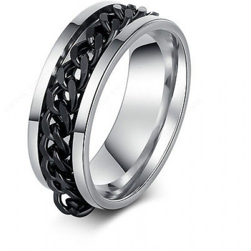 9222  Stainless Steel Rings For Women Classic Rotating Chain Fashion
