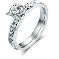 9228 Stainless Steel Rings For Women & Men Circle CZ Diamond ring