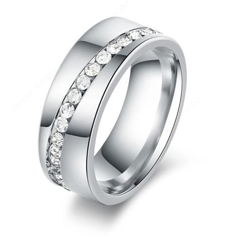 9236 Stainless Steel Rings For Women & Men Slash A Line Of CZ Diamond ring
