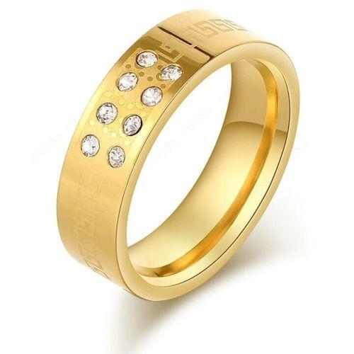 9258 Stainless Steel Rings For Women & Men 8 CZ Diamond On Gold Plated ring