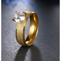 9261 Stainless Steel Rings For Women & Men Gold Plated Clear CZ Diamond ring