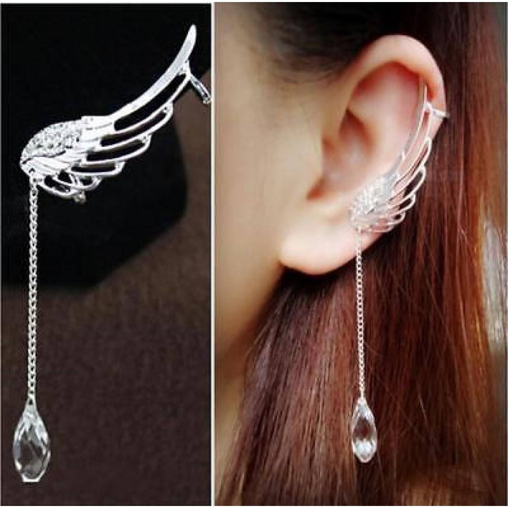 1350 1 Pc Left E Crystal Rhinestone Wing Ear Cuff Earrings Long Silver Angel
