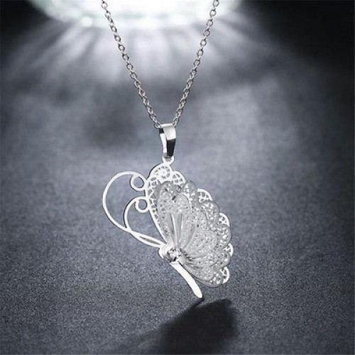 #7059 Woman Lovely Butterfly Pendant Chain Necklace Jewellery