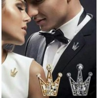 #6010 Rhinestones Crystal Mini Little Gold Crown Men And Women Brooch