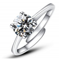 9322  CZ Crystal Rings for women Anel silver Color Wedding Jewelry adjustable Engagement Ring