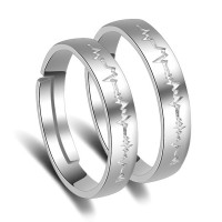 9331  Silver Color Women&Men Opening Ring High Quality Fashion Lovers Couple Rings Wedding Anniversary Jewelry