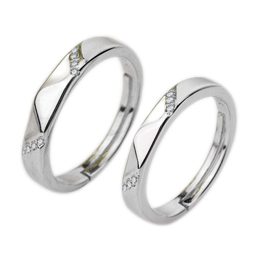 9340 Three Stone Promise rings for couples Engagement Wedding Rings