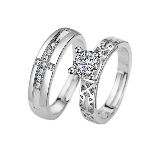 9349 STERLING SILVER RING JEWELRY ENGAGEMENT LOVE CROWN CROSS ZIRCON WEDDING LOVERS COUPLE RINGS FOR WOMEN MEN