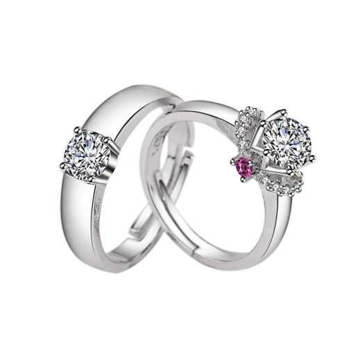 9351 Silver Plated White Gold Beautifully Wedding/Engagement Opening Couple Rings