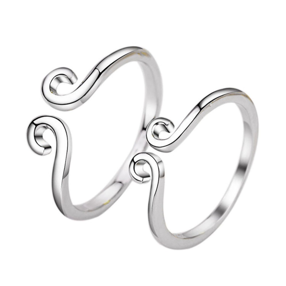 da51a55a6c5c7 9358 His and Her Promise Rings, Couple Ring Set,925 Sterling  Silver,Adjustable open ring