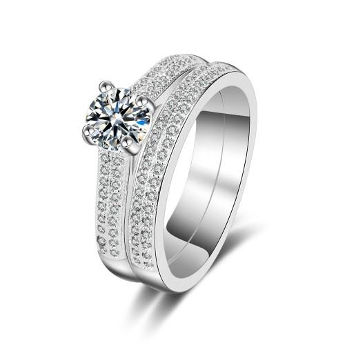 9378 2 pcs Platinum Ring wedding engagement proposal promise ring