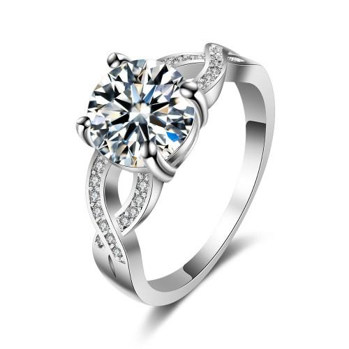 9407 Twist design Diamond studded  Girl women engagement wedding party titanium ring