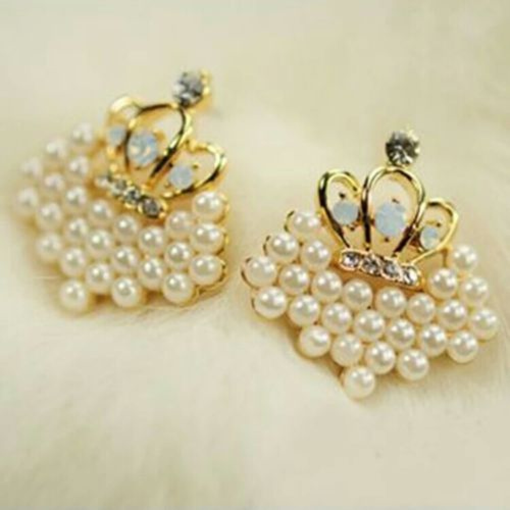 1014 New South Korean Fashion Exquisite Love Crown Imitation Pearls Earrings