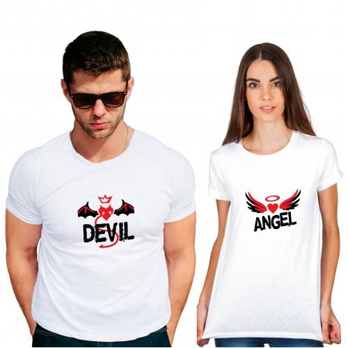 Angel Devil Cotton White Half sleeve round neck Couple Tshirt