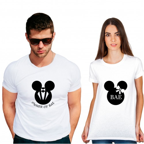 Bae Owner Cotton White Half sleeve round neck Couple Tshirt