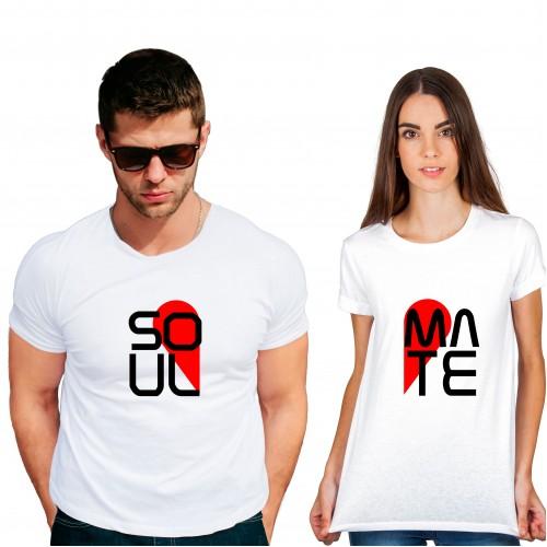 Soul mate Cotton White Half sleeve round neck Couple Tshirt