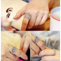#9006 Women's Fashion Queen Crown Pattern Ring Set Rhinestone Two-piece Rings