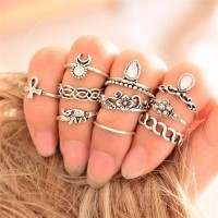 9075 Silver 10PC/Set Retro Ring Set Unique Carving Antique Crystal Women Girl