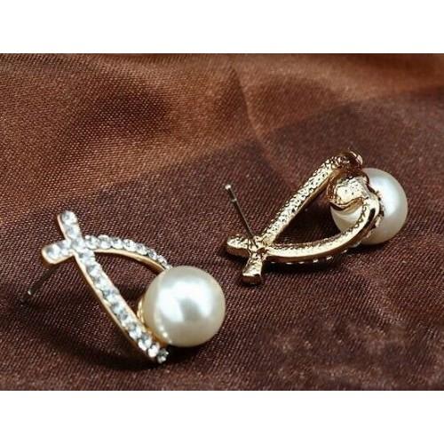 #1001 Crystal Rhinestone simulated pearl Bowknot Design Girls Ear Stud Earring
