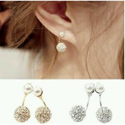 #1003 New Double Side Earrings Crystal Ball Gold Plated Simulated Pearl Earrings