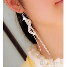 #1004 Women Fashion S-Shape Long Tassels Rhinestone Hook Dangle Linear Earrings