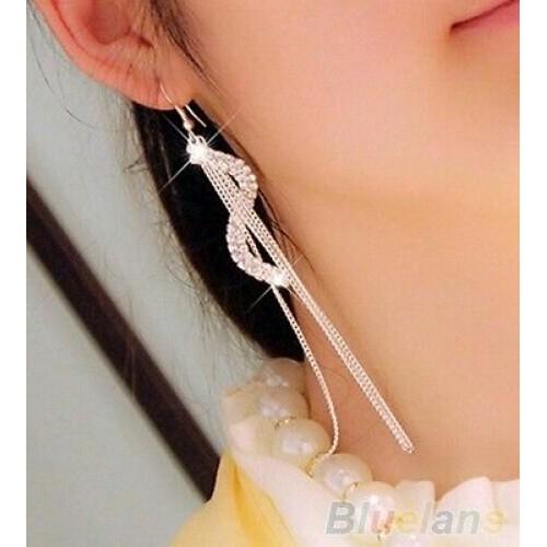 #1004 Women Fashion S-Shape Long Tassels Rhinestone Hook Dangle Linear Earrings