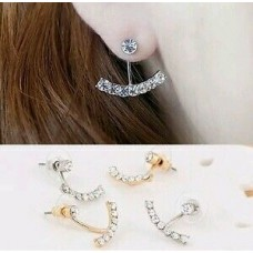 #1005 Korean jewelry wild three-dimensional geometry of curved earrings