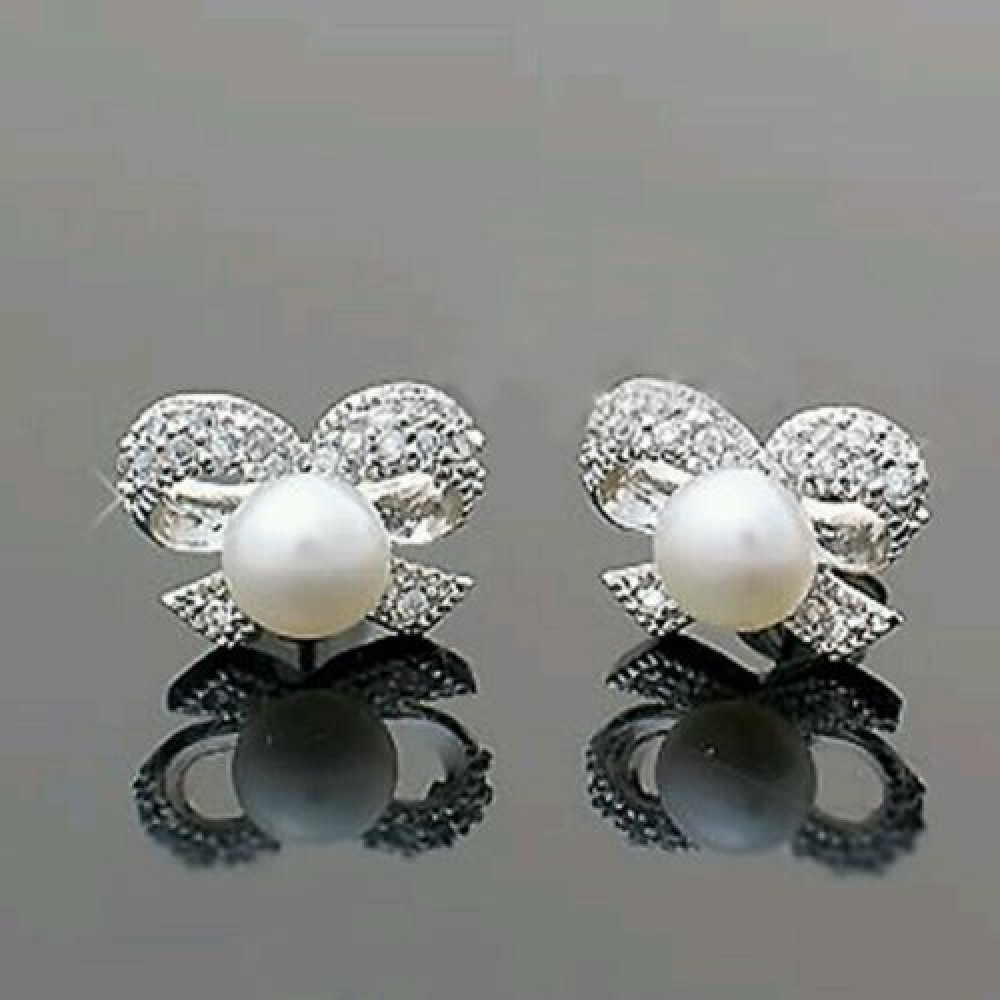 1109 New Fashion Silver Plated Bow Shaped Simulated Pearl Woman Earrings