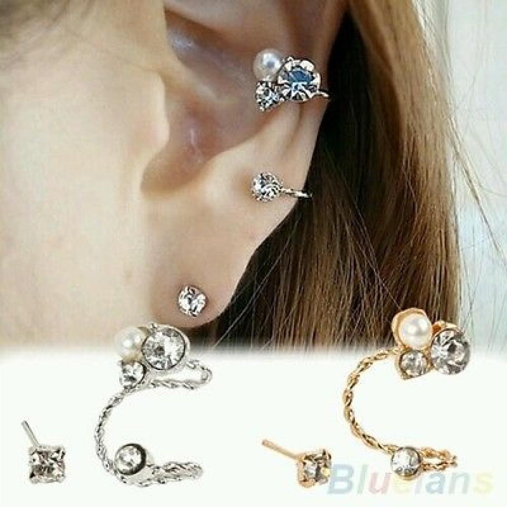 1151 1 Pc Lady S Elegant Pearl Rhinestone Gold Plated Ear Clip Earrings
