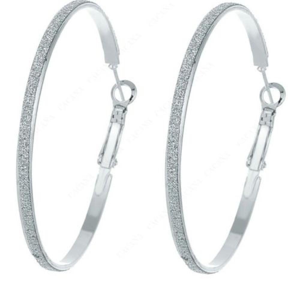 6a609f81d #1158 Silver Plated Hoop Long Earrings For Women Big Round earrings