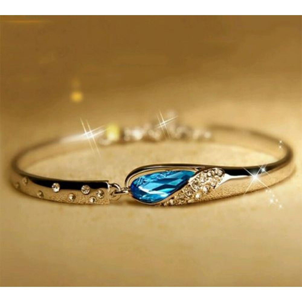 New Charm Bracelets: #3033 Fashion New Crystal Women Bracelet Blue Color Silver