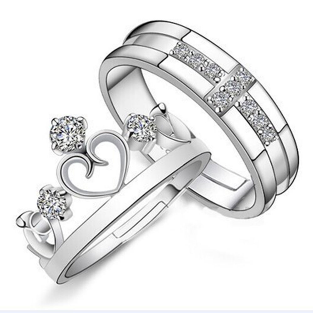 44f7c2a1a8 9017 Silver Plated Prince Princes Imperial Crown Adjustable Couple Ring