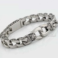 3106 Davieslee Mens Bracelet 316L Stainless Steel Bracelet Silver Color Curved Curb Link Chain Wholesale Jewelry