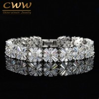 3107 Zircons Women Fashion Jewelry Gorgeous Silver Color Spring Flower Cubic Zirconia Connected Tennis Bracelet