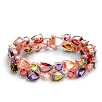 3108  Mona Lisa Multi color Cubic Zircon Bracelets Bangles Luxury Wedding Bracelets for Women Crystal Jewelry